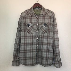 Guess Vintage Plaid Men's Button Down Shirt M